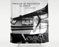 Airplane Shower, Plane Shower Curtain, Black White Bathroom, Amelia Earhart Quote, Love of Flying, Pilot Gift, Plane Enthusiast, Adventure by mayaredphotography. Explore more products on http://mayaredphotography.etsy.com