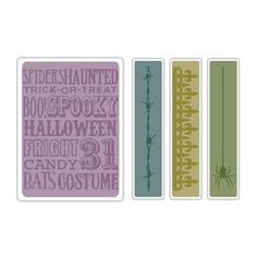 Sizzix Texture Fades Embossing Folders 4PK - Halloween Background & Borders Set $10.99