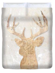 Deer Duvet Cover featuring the digital art Modern Head Deer by Pentagonixmedia