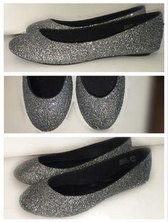 a891c47c61d Women's Sparkly Glitter Gunmetal Grey Dark Silver BALLET Flats bride  wedding shoes Brudesko