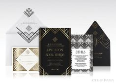 Gold and Black Gatsby Art Deco Invitation by Atelier Isabey, via Behance