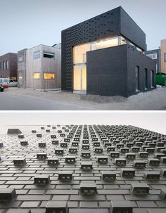 14 Modern Houses Made Of Brick // Dark bricks on the exterior of this house and their unique arrangement keep the building smooth in some places and textured in others.