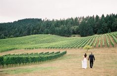 We love this - the bride and groom heading out into the vineyard after the ceremony.