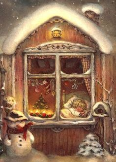 One more sleep and it's December . Christmas Decor Ideas - Happy Christmas - Noel 2020 ideas-Happy New Year-Christmas Christmas Scenes, Christmas Past, Cozy Christmas, Christmas Greetings, Christmas Windows, Scandinavian Christmas, Illustration Noel, Christmas Illustration, Vintage Christmas Images