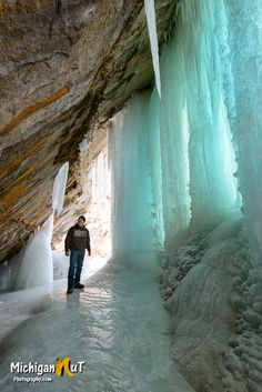 Grand Island ice cave and the photographer - Michigan