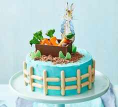 Kids will love this take on cake inspired by the adventures of the mischievous Peter Rabbit! Peter Rabbit Cake, Peter Rabbit Party, 3rd Birthday Party For Boy, Birthday Cakes, Birthday Ideas, How To Make Frosting, Sandwich Cake, Round Cake Pans, Cakes For Boys
