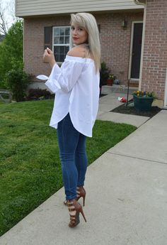 my favorite white off-shoulder top + strappy heels = summer perfection - Success on Stilettos