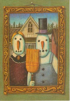 American Gothic Snowpeople