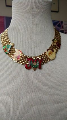 Check out Christmas necklace// upcycled jewelry// vintage necklace//Santa necklace// colorful// Xmas tree// Xmas tree// angel // joy // gift for aunt on truthorwear