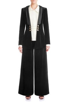 A velvet blazer is a smart yet decidedly cool way to complete day and night looks. Lined with mulberry silk-satin, the comfortness can only be worn to be felt. Velvet Blazer, Signature Collection, Night Looks, Mulberry Silk, Wide Leg Trousers, Silk Satin, Timeless Design, Dress Making, Making Ideas