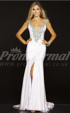 White Mermaid V-neck Velvet Chiffon Split Front Floor-length With Sweep Train Prom Dresses(PRJT04-0104)