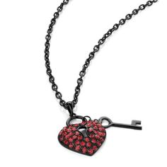 Heart and Key Pendant Necklace Black & Red