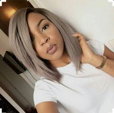 Gorgeous Black Girl rocking ash blonde and brown hair #BobLife #PrettyBrownSkinGirl #hairflip