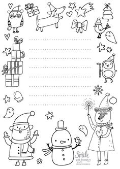 Letter Christmas Crafts For Kids, Christmas Colors, Winter Christmas, Christmas Home, Holiday Crafts, Christmas Cards, New Year Doodle, Christmas Sheets, Christmas Coloring Pages