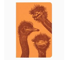 A quattro of Ostriches. Three on the front and one peeking around the back. The image is printed from an original linocut by Rebecca Kreisler. Ostriches, Orange Paper, Handmade Notebook, Use Of Plastic, Letterpress Printing, Paper Goods, Dark Red, Ink, Cello