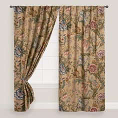 Muted, dusky colors in a dramatic floral pattern grace an antique-textured background in our vintage-inspired curtains. Add softness and sophistication to your room with this unique pair.