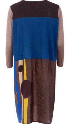 """</p> <span>Knee height dress, with body in a delicate mix of cashmere and silk in brown, blue and beige. </span></p> <span>Round neckline and long sleeves. </span></p> <span>Flowy print silk skirt. No lining.</span></p> Top 70% silk 30%cashemire. Silk 100% silk</p> <p style=""""font-size: 12.16px; line-height: 15.808px;"""">"""