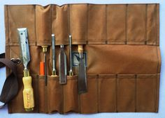 A flexible tool roll of simple design, reminiscent of ones made eighty or ninety years ago. #etsyworkwearteam