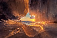 Sunset through ice cave, Lake Baikal, Russia. Photo by: CoolBieRe Lago Baikal, Scenic Photography, Nature Photography, Places To Travel, Places To See, Places Around The World, Around The Worlds, Beautiful World, Beautiful Places