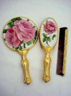 ** Art Nouveau hand mirror brush comb vanity set large pink rose blossoms