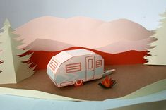 letterpress tag a long camper DIY 3D card by blackbirdletterpress