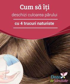 Cum să îți deschizi #culoarea părului cu 4 trucuri #naturiste  Ca să îți deschizi culoarea #părului fără a-ți deteriora podoaba #capilară, poți apela la diverse produse naturale. Deși acestea au nevoie de mai mult timp pentru a acționa, rezultatele obținute nu te vor dezamăgi și podoaba ta capilară nu va avea de suferit. Alter, Diy Beauty, Creme, Curly Hair Styles, Hair Care, Hair Makeup, Health, Eyes, Make Up