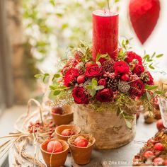 A pop of red to celebrate Friday... Birch covered decorative Christmas candle arrangement... our final festive workshops of the year are next week, on the 20th and 21st December... #zitaelze #christmasred #fridayflowers #candle #red #flowers #christmasiscoming