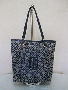 Bag Tommy Hilfiger Handbags Tote 6928816 471 Blue Beige Gold Retail $ 98.00 #TommyHilfiger #Totes
