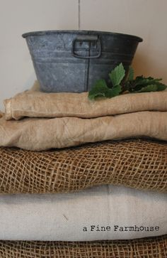 http://www.afinefarmhouse.blogspot.com  burlap and some other stuff