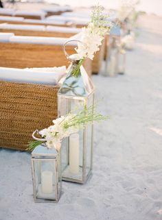 Beach ceremony aisle-decor: http://www.stylemepretty.com/2013/05/02/islamorada-wedding-from-kt-merry-photography/ | Photography: KT Merry - http://www.ktmerry.com/