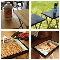 End tables for less than $10. Goodwill TV trays, homemade modge podge, craft paper.