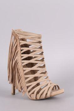 Wild Diva Lounge Strappy Fringe Stiletto Heel