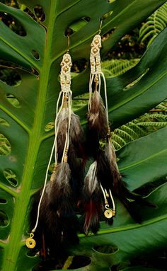 Tribal Macrame Feather Earrings Handmade Natural by AryaClothing