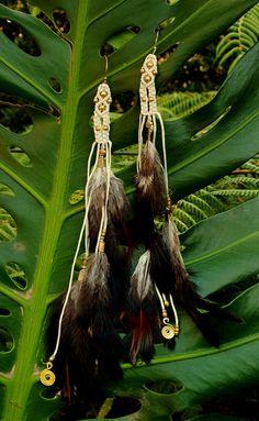 Tribal Macrame Feather Earrings Handmade Natural by AryaClothing
