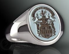 Blue / Black Sardonyx - Engraved with a Traditional Coat of Arms
