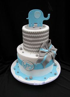 Chevron Baby Shower Cake with Elephant: