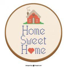 Home Design sweet home ponto-cruz Vetor grátis