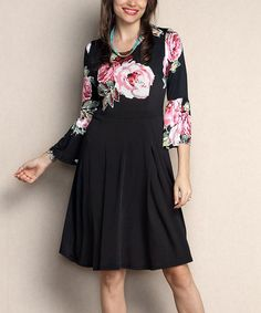 Look what I found on #zulily! Black Floral Bell-Sleeve Fit & Flare Dress - Plus #zulilyfinds