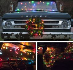 1ecf7a47d5d8f An old truck finds new purpose thanks to Christmas lights and decor. Christmas  car decorating