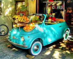 Car, fruits and colors. #Fiat500 vintage portrait.