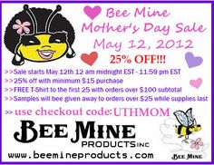 Bee Mine Natural Hair Care Products Mother's Day Sale Info