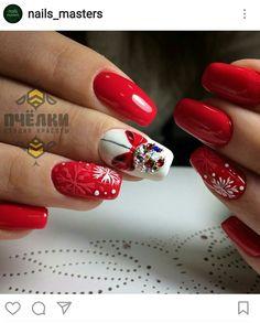140 pretty winter and christmas nails art designs - page 7 ~ Modern House Design Xmas Nail Art, Xmas Nails, New Year's Nails, Christmas Nail Art Designs, Winter Nail Art, Holiday Nails, Red Nails, Winter Nails, Christmas Nails