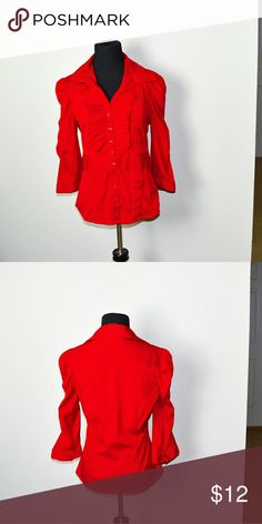 Adorable Red Ruffle Button Down Shirt In excellent condition! Very comfortable, lightweight, and flattering! Buy 3 items and get 1 free plus 15% off your purchase total Tops Blouses