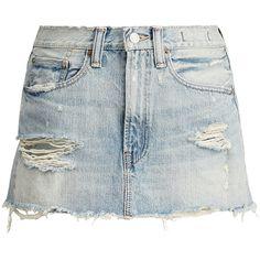 Denim Supply Distressed Denim Miniskirt ($115) ❤ liked on Polyvore featuring skirts, mini skirts, vintage skirts, zip skirt, patch skirt, short mini skirts and ripped skirt