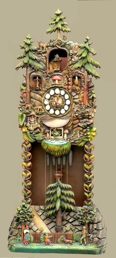 huge antique carved wood grandfather clock black forest