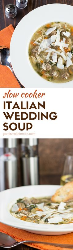 Dinner comes together in minutes with this warm, hearty Slow Cooker Italian Wedding Soup recipe.