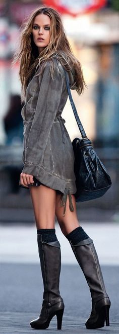 Or knee high boots with knee high socks peeping through. Add a satchel for an extra casual look.