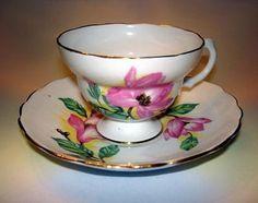 Pretty Magnolia English Bone China Tea Cup and Saucer Set