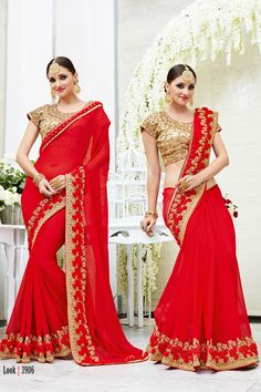 Red Designer Wedding Wear Saree With Heavy Lace Border Patang Catalog 3906