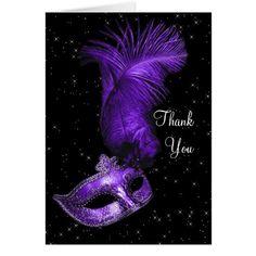 Elegant Black and Purple Masquerade Thank You Card